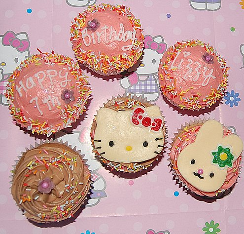 Hello Kitty cupcakes! Happy B-day Lizzy!