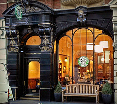 Nothing sacred (maistora) Tags: old city light england plants white black london window coffee architecture modern facade dark bench gold evening design cafe warm tea britain traditional decoration coffeeshop social secession pots architect artnouveau starbucks 99 artdeco lamps typical decor decorate shrubs teahouse confectionery innerlight caffe no99 maistora absolutegoldenmasterpiece welcomeuk