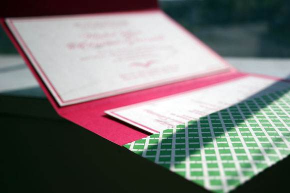 Smock Design Contest Honoree - Burstell Letterpress Wedding Inivtation with Custom Folio