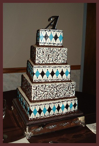 Chocolate brown & aqua scrolls/diamonds wedding cake by atasteofwhimsy