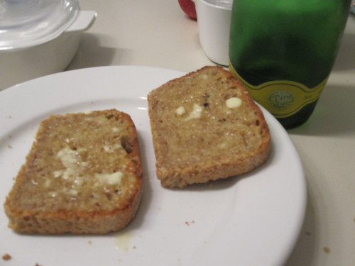 Buttered toasts and Perrier