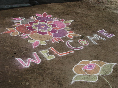 India - Kolam chalk art - welcome by mckaysavage, on Flickr