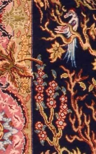 """Hereke Silk Carpet """"Tree of Life"""" - Detail 12 x 12 (0,49 m²)"""