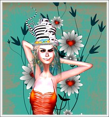 The Halloween Flower Girl (Alles Klaar) Tags: flowers orange woman halloween beauty hat skulls secondlife grin grimbros