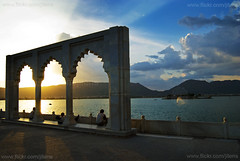 Anna Sagar, Ajmer, India (Jitendra Singh : Indian Travel Photographer) Tags: travel blue sunset sun india lake water yellow architecture clouds arch hills sunrays rajasthan ajmer in jiten jitendra jitender jitendrasingh indiaphoto bestphotojournalist wwwjitenscom gettyphotographer bestindianphotographers jitensmailgmailcom wwwindiantravelphotographercom famousindianphotographer famousindianphotojournalist gettyindianphotographer