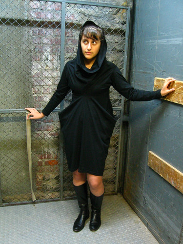 Long-Sleeve Double T-Shirt Dress - Black 002 (by TAKE OFF YOUR CLOTHES.etsy.com)