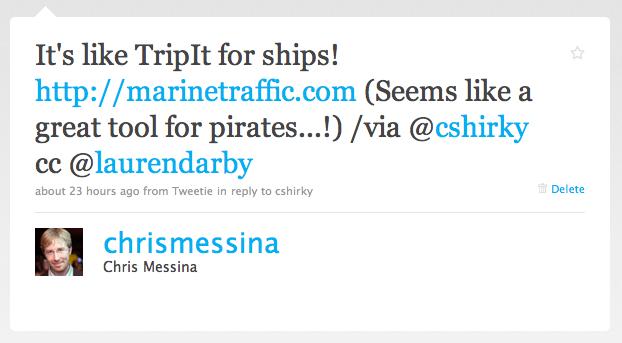 Twitter / Chris Messina: It's like TripIt for ships ...