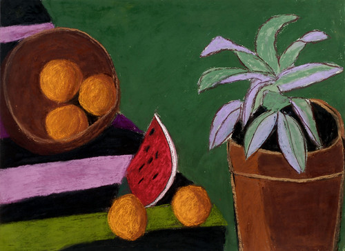 """Mexican Still Life with Cactus - pastel on paper 22"""" x 30"""" $1100"""
