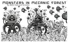 Monster in mecanic forest (Exit man) Tags: blackandwhite monster cat town chat alien alert monstre exitman alesko