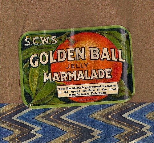 SCWS Golden Ball marmalade label on a novelty paper hat, c1930