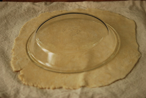 Place pie plate upside down on top of pie dough.