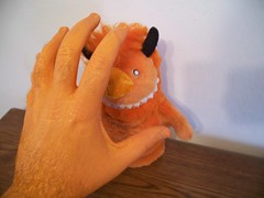 GOTCHA! (helixdmonster) Tags: orange monster puppets cpm helix handpuppets creepyhands monsterhandpuppets helixdmonster