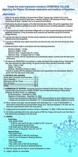 SM City Taytay Christmas Village contest rules