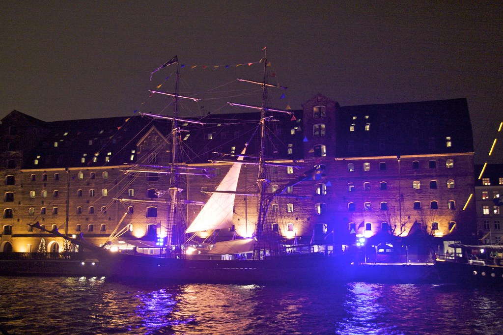 Boat docked by hotel in Copenhagen