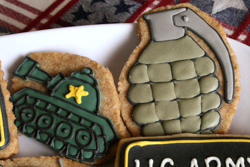 Tank and Grenade cookies