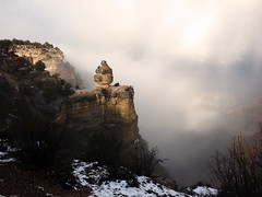 Duck on a Rock in Winter (Andrew Aliferis) Tags: duck rock grand canyon arizona andy aga andrew aliferis mist clouds veil winter snow iphoneography formation fog white duckonarock