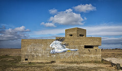 ISLE OF SHEPPEY 1 (Nigel Bewley) Tags: isleofsheppey kent england uk creativephotography artphotography unlimitedphotos february february2017 nigelbewley derelict abandoned concrete fortification gunemplacement pillbox homeguard wwii ww2 worldwarii worldwar2 worldwartwo homefront grafitti wallpainting wallart streetart sky clouds shellness extendeddefenceofficerpost exdo