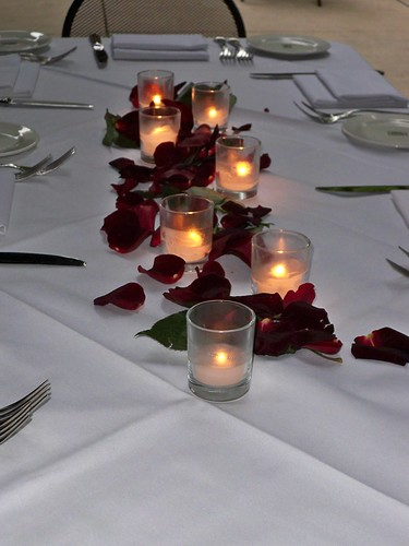 Rose Petal And Candles Centerpiece The Knot