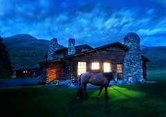 An Evening Stroll Around the Cabin (Stuck in Customs) Tags: ranch blue light sky horse mountains home colors field animal night wonderful dark lights cozy amazing cool fantastic cabin montana shadows dusk weekend rustic meadow surreal peaceful pic super yellowstone dreamy neat wyoming top100 habitat maison incredible magical hdr graze rustique whisperer briliant stuckincustoms d3x treyratcliff