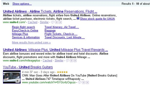 United Breaks Guitars - Google Search Results For United - 071009