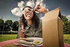 Picnic with MLK (Csheemoney) Tags: food nature girl composite fun glasses milk bacon funny picnic eating cardboard eggs belgrade fried mlk beograd compositing nemanja pesic nostrobistinfo csheezio cshee csheemoney removedfromstrobistpool seerule2