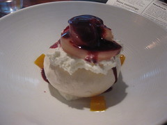 South Food + Wine Bar in San Francisco - Pavlova, white peach and blackberry coulis + gelee