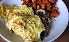 Mushroom and Spinach Omelet with Sweet Potato Hash Browns
