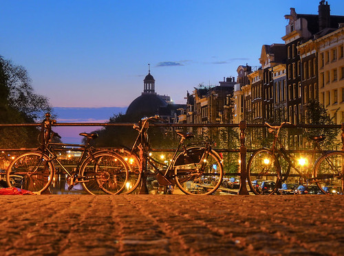 Three bikes on the canal bridge in Amste by joiseyshowaa, on Flickr
