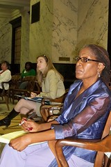 Ellen listens attentively at Task Force Hearing