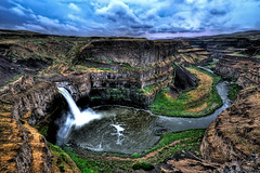 Palouse Falls Summer Storm (Surrealize) Tags: pink cliff storm green water rain clouds river landscape waterfall washington nikon rocks purple desert state northwest canyon columbiariver eastern hdr palousefalls 14mm scablands missoulaflood d700 surrealize