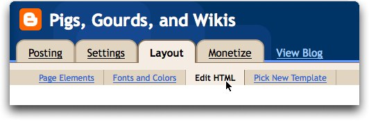 Blogger, layout settings edit html