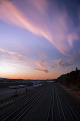 Lonely Train Yard (Jon Asay ) Tags: railroad sunset clouds oregon yard train portland long exposure track  guesswherepdx