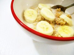 granola + banana (buttermilk*blue) Tags: breakfast almond banana traderjoes crunchy soymilk redbowl vanillagranola