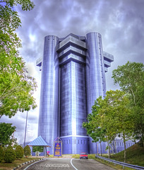 Ministry of Finance Building -(Take 2) (t2psalm) Tags: trees money photoshop canon is brunei efs modernarchitecture hdr stormclouds bsb glasswall financebuilding eos450d samcorros t2psalm bruneidollar photomatix32