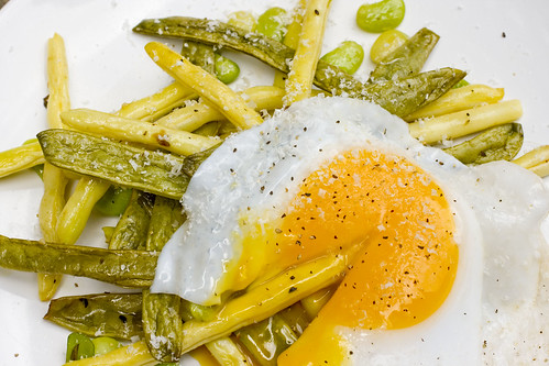 Green Market Beans with Runny Duck Egg