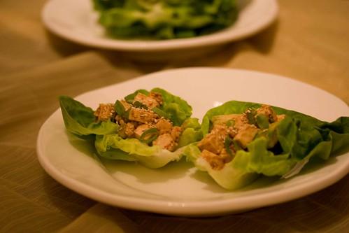 tofu and sesame lettuce wraps