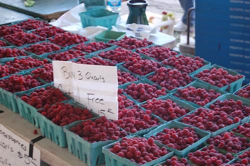 raspberries at the farmer's market