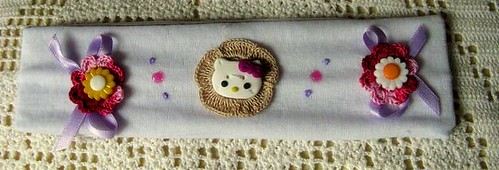 Faixa de cabelo branca Hello Kitty - Ref.29/09