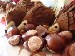 Hedgehogs with conkers