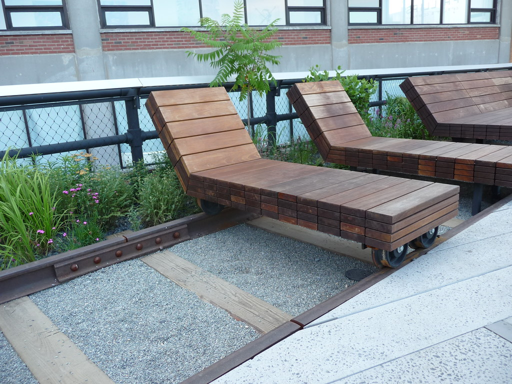 Photo of rolling chairs on tracks at the High Line