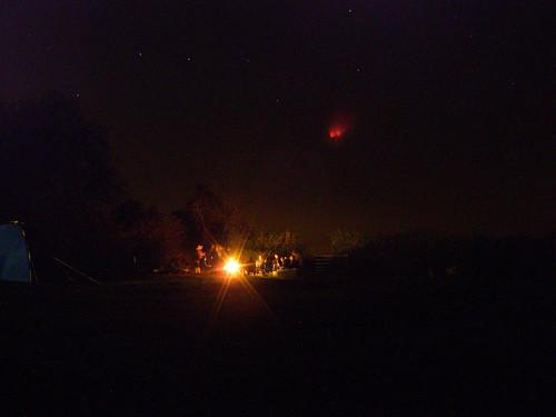 Camp fire beneath The Plough