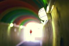 Rainbow (Che-burashka) Tags: travel red urban france lamp girl subway rainbow colours dress streetlamp tunnel tunnels arcachon 400d urbanlyric 09hols