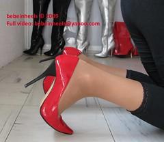 Red patente pointed heels (bebeinheels) Tags: fetish cumshot high pumps highheels legs boots thigh heels hosiery heel stiletto nylon domina overknees
