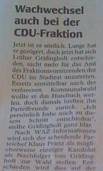 WAZ-Artikel: Wachwechsel auch bei der CDU-Fraktion