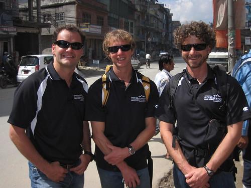Jamie, Todd and Scott, outside Boudhanath Stupa, in Kathmandu