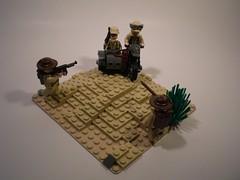 Northern Africa Vignette (PhiMa') Tags: newzealand lego northafrica nazi wwii australian ww2 commonwealth axis worldwar2 wehrmacht allied afrikakorps bmwr75 brickarms