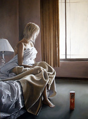 Hotel room anxiety (Linnea Strid) Tags: light window lamp girl painting bed sitting curtain sheets linnea oil pringles strid