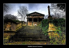 Sheffield General Cemetery (Scippy) Tags: uk trees sky overgrown cemetery leaves stone clouds neglect sandstone sheffield yorkshire steps ivy pillars balustrade sheffieldgeneralcemetery egyptianstyle derellict grade11listed noneconformistchapel