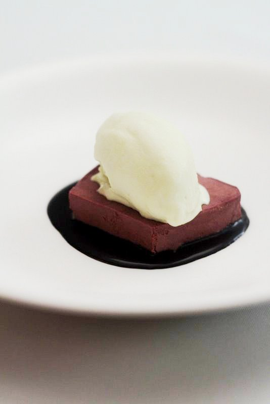 chocolate terrine with pistachio ice cream