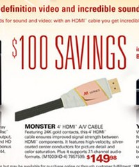 Best Buy/Magnolia advert for a 4 foot HDMI cable: $149